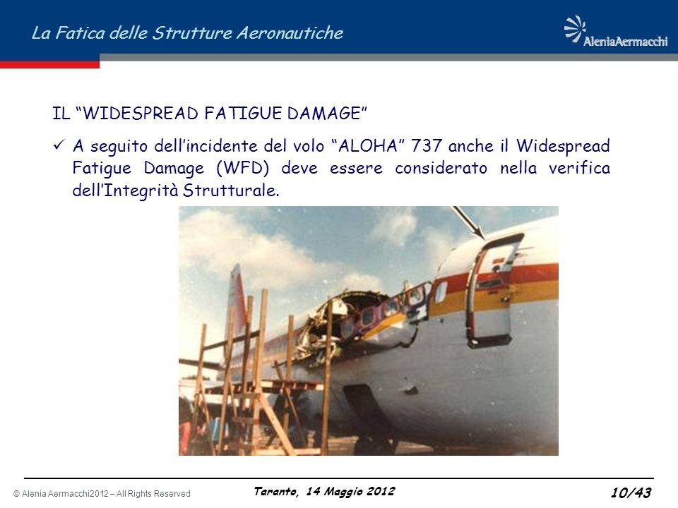 © Alenia Aermacchi2012 – All Rights Reserved La Fatica delle Strutture Aeronautiche Taranto, 14 Maggio 2012 10/43 IL WIDESPREAD FATIGUE DAMAGE A segui