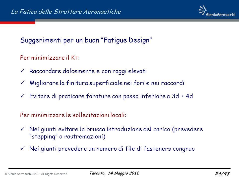 © Alenia Aermacchi2012 – All Rights Reserved La Fatica delle Strutture Aeronautiche Taranto, 14 Maggio 2012 24/43 Suggerimenti per un buon Fatigue Des