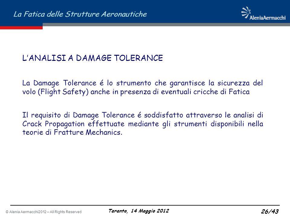© Alenia Aermacchi2012 – All Rights Reserved La Fatica delle Strutture Aeronautiche Taranto, 14 Maggio 2012 26/43 LANALISI A DAMAGE TOLERANCE La Damag
