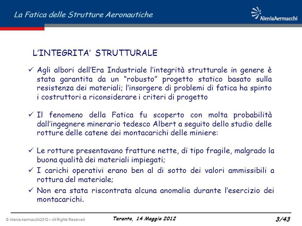 © Alenia Aermacchi2012 – All Rights Reserved La Fatica delle Strutture Aeronautiche Taranto, 14 Maggio 2012 3/43 Le rotture presentavano fratture nett
