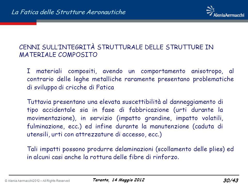 © Alenia Aermacchi2012 – All Rights Reserved La Fatica delle Strutture Aeronautiche Taranto, 14 Maggio 2012 30/43 CENNI SULLINTEGRITÀ STRUTTURALE DELL
