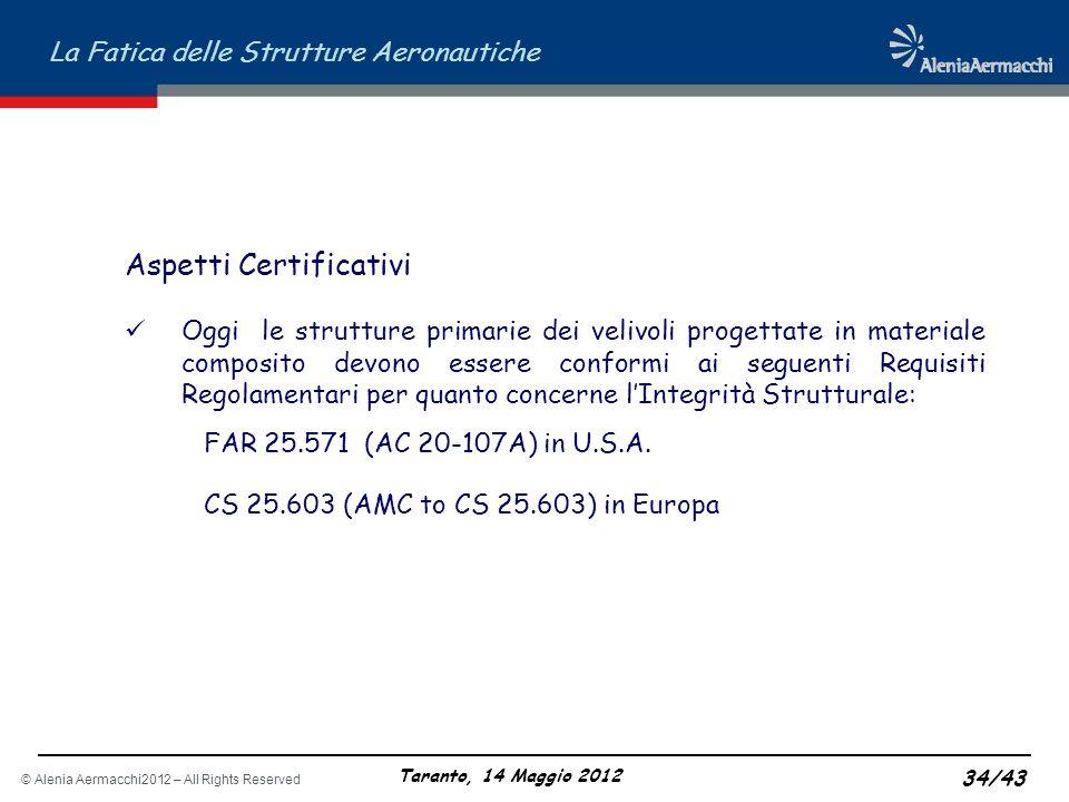 © Alenia Aermacchi2012 – All Rights Reserved La Fatica delle Strutture Aeronautiche Taranto, 14 Maggio 2012 34/43 Aspetti Certificativi Oggi le strutt