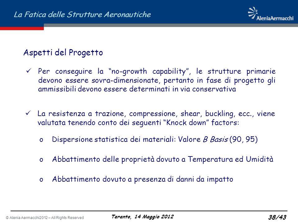 © Alenia Aermacchi2012 – All Rights Reserved La Fatica delle Strutture Aeronautiche Taranto, 14 Maggio 2012 38/43 Per conseguire la no-growth capabili