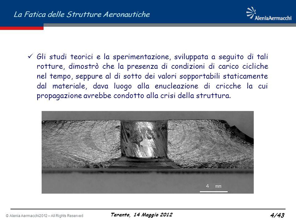 © Alenia Aermacchi2012 – All Rights Reserved La Fatica delle Strutture Aeronautiche Taranto, 14 Maggio 2012 4/43 Gli studi teorici e la sperimentazion