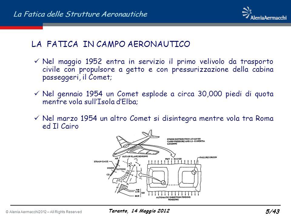 © Alenia Aermacchi2012 – All Rights Reserved La Fatica delle Strutture Aeronautiche Taranto, 14 Maggio 2012 5/43 LA FATICA IN CAMPO AERONAUTICO Nel ma
