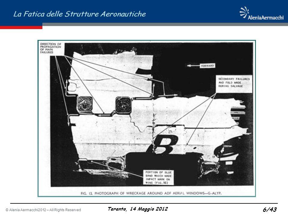 © Alenia Aermacchi2012 – All Rights Reserved La Fatica delle Strutture Aeronautiche Taranto, 14 Maggio 2012 6/43