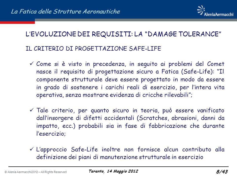 © Alenia Aermacchi2012 – All Rights Reserved La Fatica delle Strutture Aeronautiche Taranto, 14 Maggio 2012 8/43 LEVOLUZIONE DEI REQUISITI: LA DAMAGE