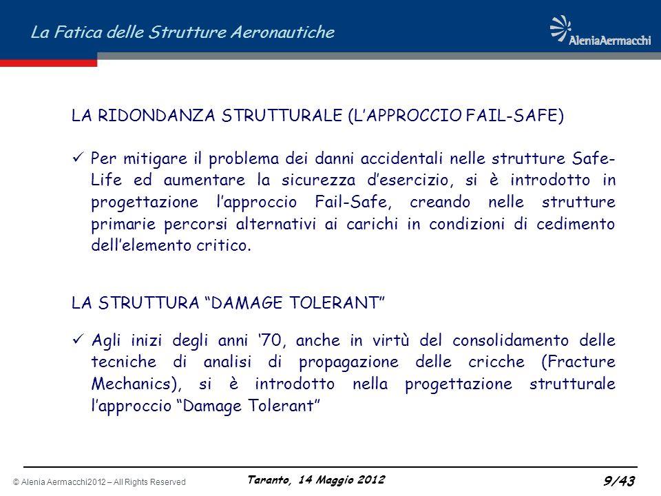 © Alenia Aermacchi2012 – All Rights Reserved La Fatica delle Strutture Aeronautiche Taranto, 14 Maggio 2012 9/43 LA RIDONDANZA STRUTTURALE (LAPPROCCIO