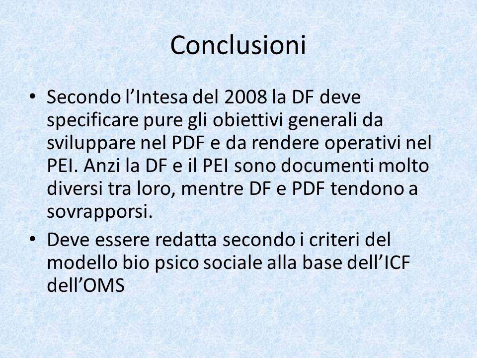 Conclusioni Secondo lIntesa del 2008 la DF deve specificare pure gli obiettivi generali da sviluppare nel PDF e da rendere operativi nel PEI. Anzi la