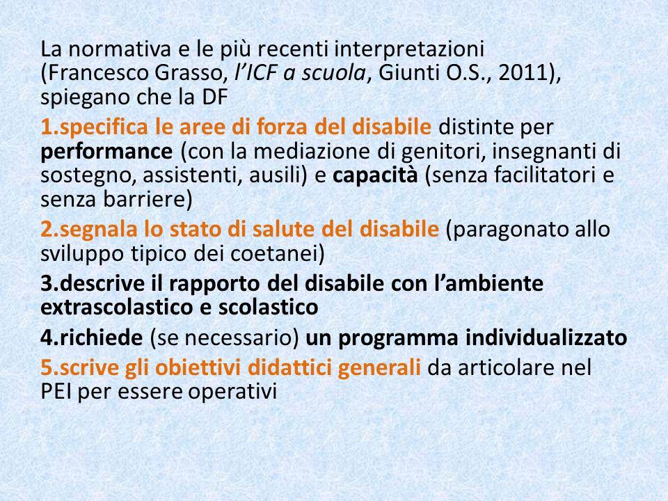 La normativa e le più recenti interpretazioni (Francesco Grasso, lICF a scuola, Giunti O.S., 2011), spiegano che la DF 1.specifica le aree di forza de