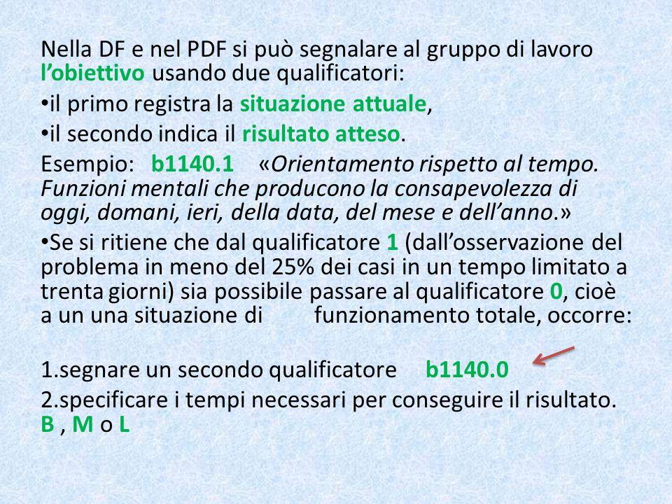 Nella DF e nel PDF si può segnalare al gruppo di lavoro lobiettivo usando due qualificatori: il primo registra la situazione attuale, il secondo indic