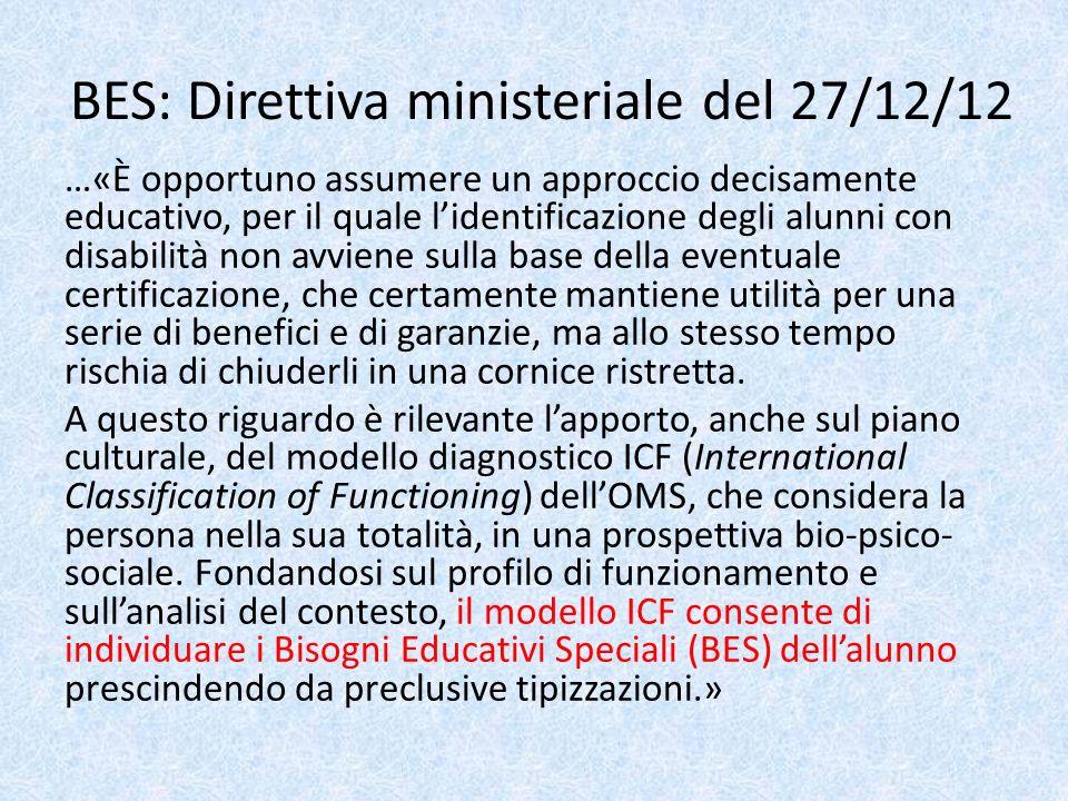 BES: Direttiva ministeriale del 27/12/12 …«È opportuno assumere un approccio decisamente educativo, per il quale lidentificazione degli alunni con dis