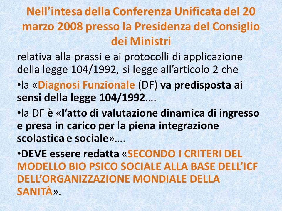 Nellintesa della Conferenza Unificata del 20 marzo 2008 presso la Presidenza del Consiglio dei Ministri relativa alla prassi e ai protocolli di applic