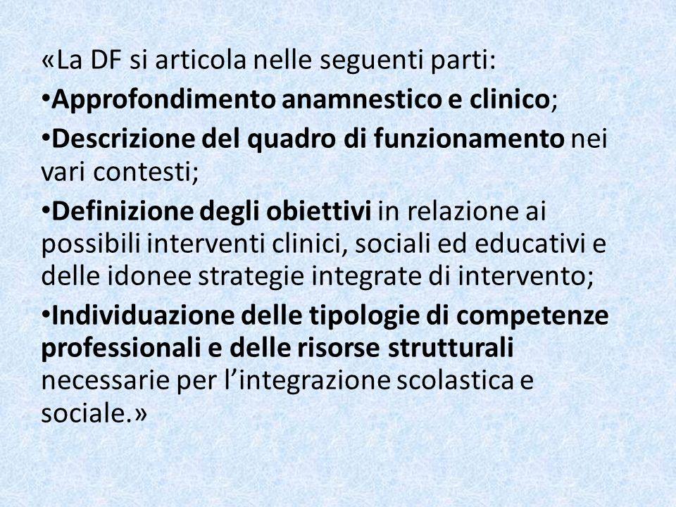 «La DF si articola nelle seguenti parti: Approfondimento anamnestico e clinico; Descrizione del quadro di funzionamento nei vari contesti; Definizione