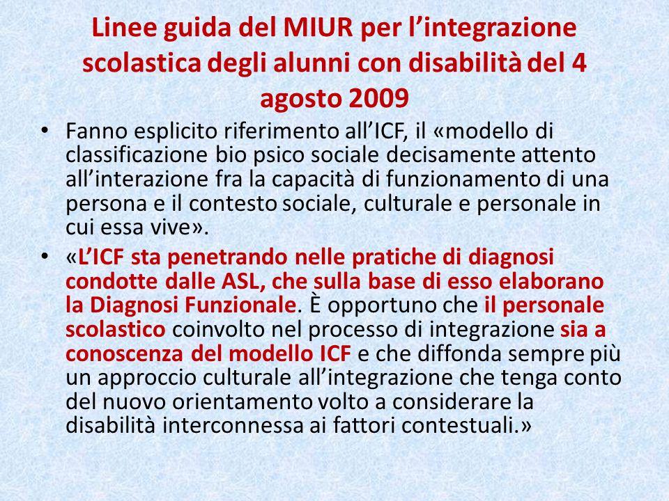 Linee guida del MIUR per lintegrazione scolastica degli alunni con disabilità del 4 agosto 2009 Recepiscono la Convenzione delle Nazioni Unite del 2006 sui diritti delle persone con disabilità, ratificata dal Parlamento italiano con legge 18/2009 e basata «sul modello sociale della disabilità».