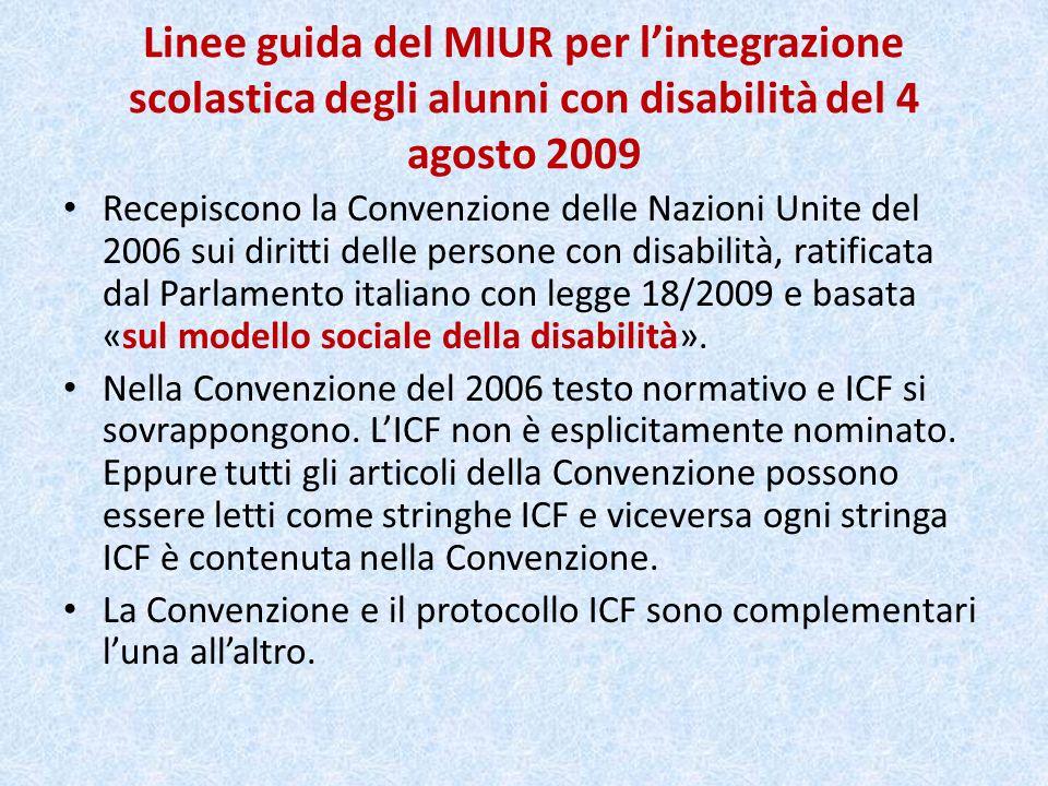 Linee guida del MIUR per lintegrazione scolastica degli alunni con disabilità del 4 agosto 2009 Recepiscono la Convenzione delle Nazioni Unite del 200