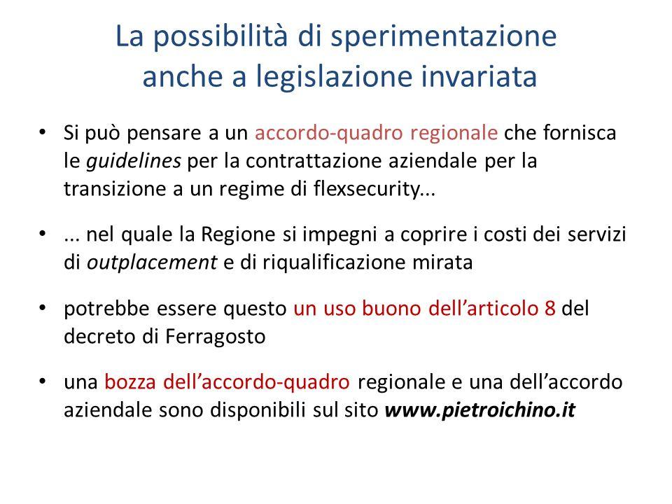 La possibilità di sperimentazione anche a legislazione invariata Si può pensare a un accordo-quadro regionale che fornisca le guidelines per la contrattazione aziendale per la transizione a un regime di flexsecurity......
