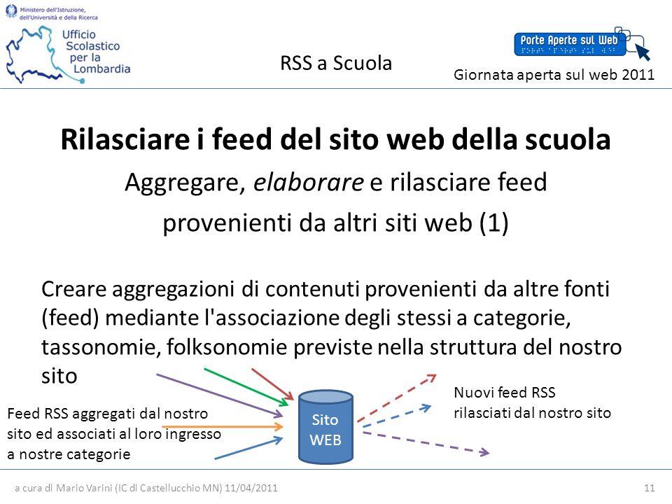 RSS a Scuola a cura di Mario Varini (IC di Castellucchio MN) 11/04/2011 11 Giornata aperta sul web 2011 Rilasciare i feed del sito web della scuola Aggregare, elaborare e rilasciare feed provenienti da altri siti web (1) Creare aggregazioni di contenuti provenienti da altre fonti (feed) mediante l associazione degli stessi a categorie, tassonomie, folksonomie previste nella struttura del nostro sito Nuovi feed RSS rilasciati dal nostro sito Feed RSS aggregati dal nostro sito ed associati al loro ingresso a nostre categorie Sito WEB