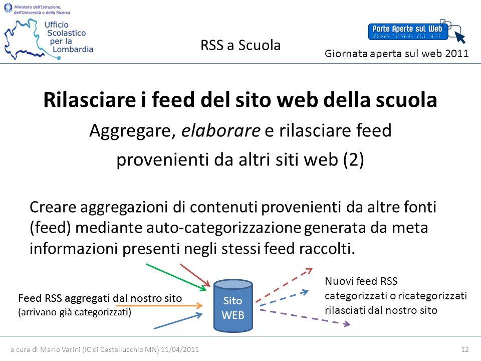 RSS a Scuola a cura di Mario Varini (IC di Castellucchio MN) 11/04/2011 12 Giornata aperta sul web 2011 Rilasciare i feed del sito web della scuola Aggregare, elaborare e rilasciare feed provenienti da altri siti web (2) Creare aggregazioni di contenuti provenienti da altre fonti (feed) mediante auto-categorizzazione generata da meta informazioni presenti negli stessi feed raccolti.