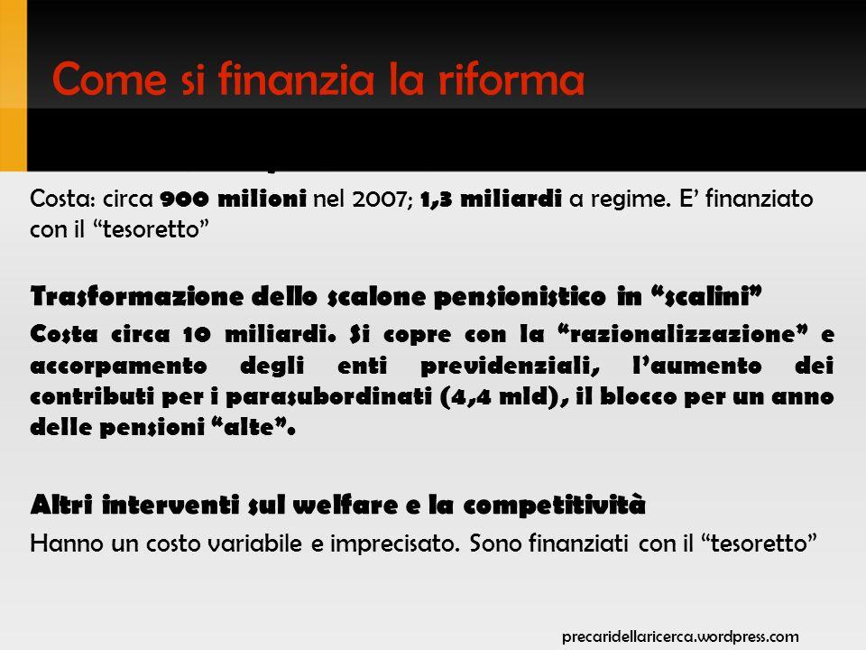 Come si finanzia la riforma Intervento sulle pensioni basse Costa: circa 900 milioni nel 2007; 1,3 miliardi a regime.
