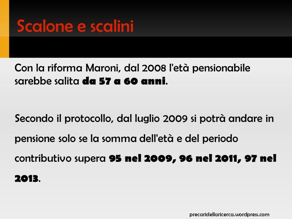 Scalone e scalini Riforma Maroni Protocollo 2007 36 35 anni di contributi 62 61 60 61 gennaio 2013 60 gennaio 2011 58 luglio 2009 età gennaio 2008 anni di contributi età 35 36 59 61 60 62