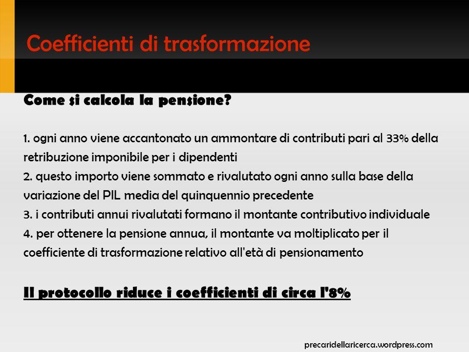 Coefficienti di trasformazione Come si calcola la pensione.
