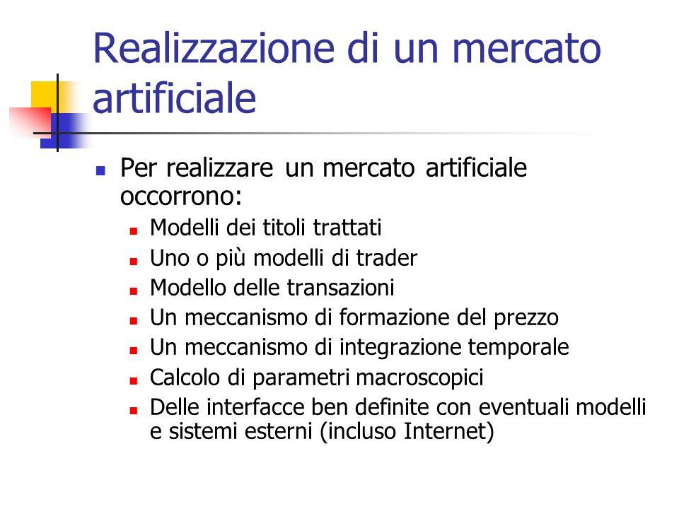 Realizzazione di un mercato artificiale Per realizzare un mercato artificiale occorrono: Modelli dei titoli trattati Uno o più modelli di trader Model