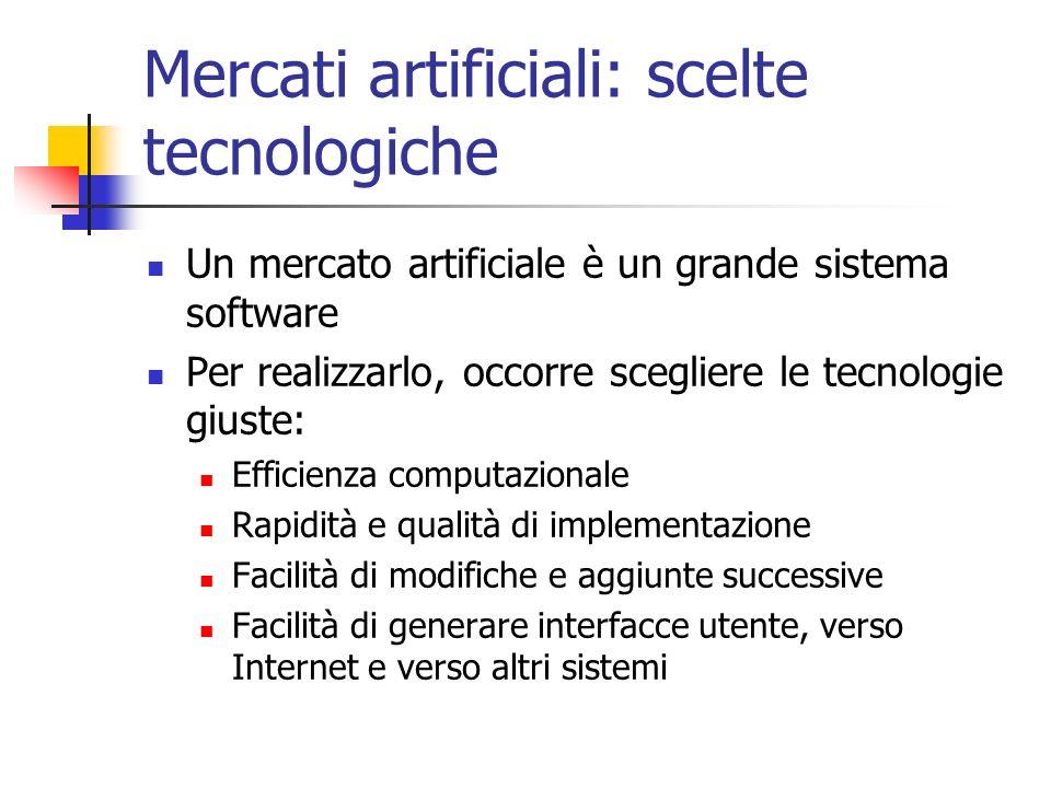 Mercati artificiali: scelte tecnologiche Un mercato artificiale è un grande sistema software Per realizzarlo, occorre scegliere le tecnologie giuste: