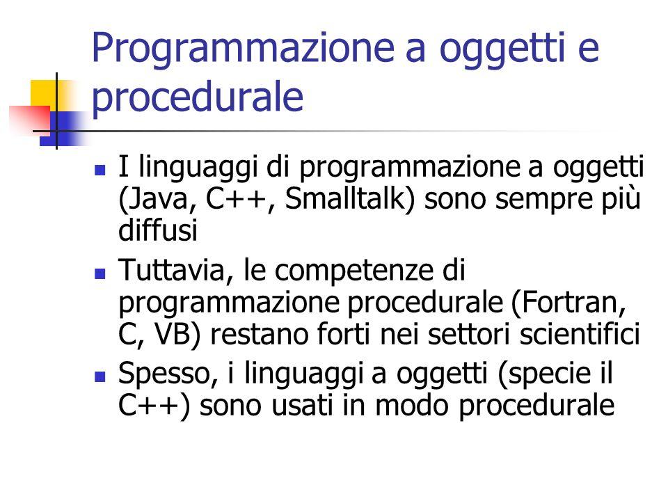 Programmazione a oggetti e procedurale I linguaggi di programmazione a oggetti (Java, C++, Smalltalk) sono sempre più diffusi Tuttavia, le competenze