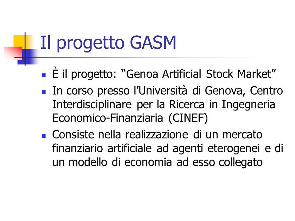 Il progetto GASM È il progetto: Genoa Artificial Stock Market In corso presso lUniversità di Genova, Centro Interdisciplinare per la Ricerca in Ingegn