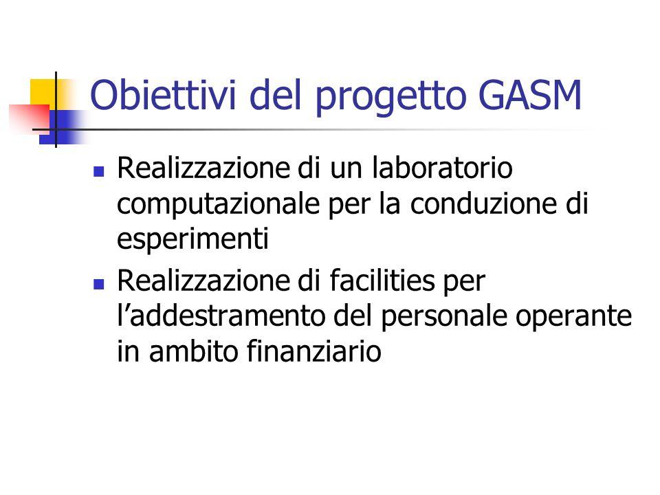 Obiettivi del progetto GASM Realizzazione di un laboratorio computazionale per la conduzione di esperimenti Realizzazione di facilities per laddestram