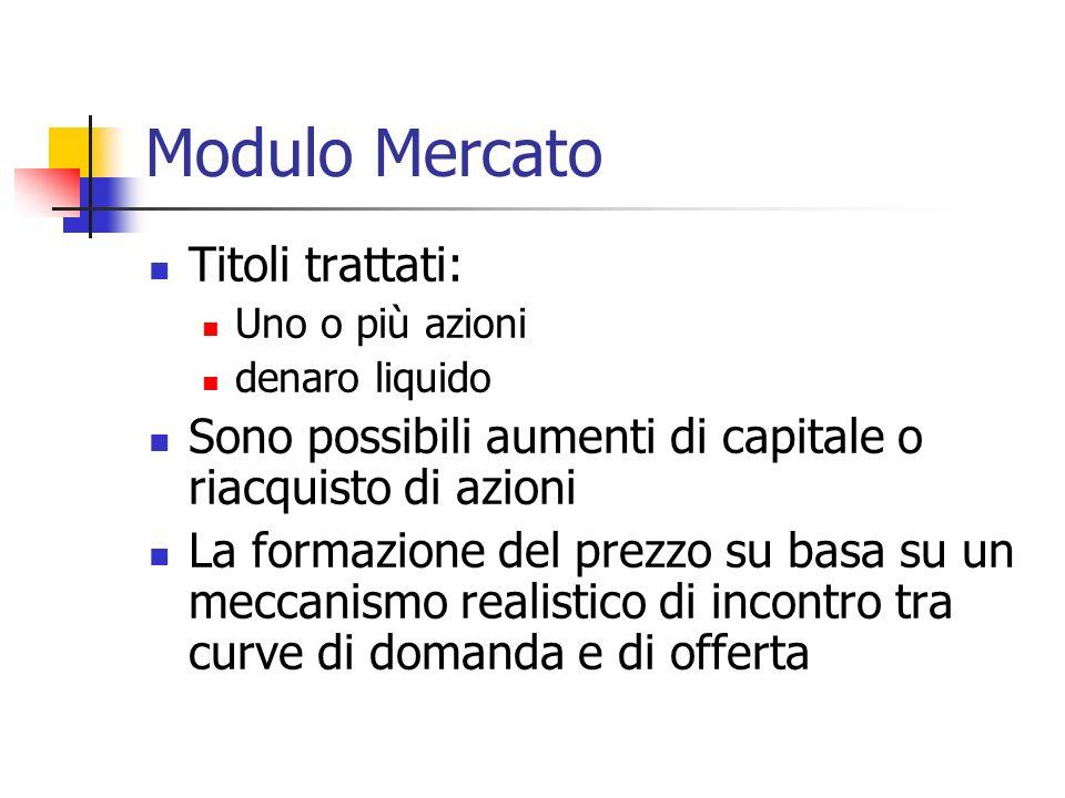 Modulo Mercato Titoli trattati: Uno o più azioni denaro liquido Sono possibili aumenti di capitale o riacquisto di azioni La formazione del prezzo su