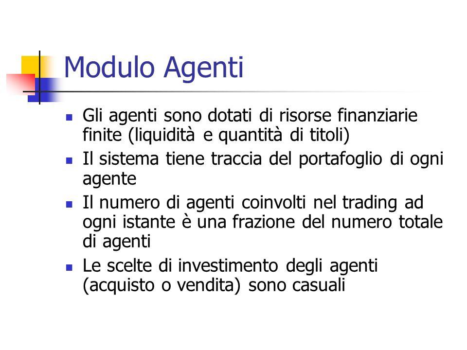 Modulo Agenti Gli agenti sono dotati di risorse finanziarie finite (liquidità e quantità di titoli) Il sistema tiene traccia del portafoglio di ogni a