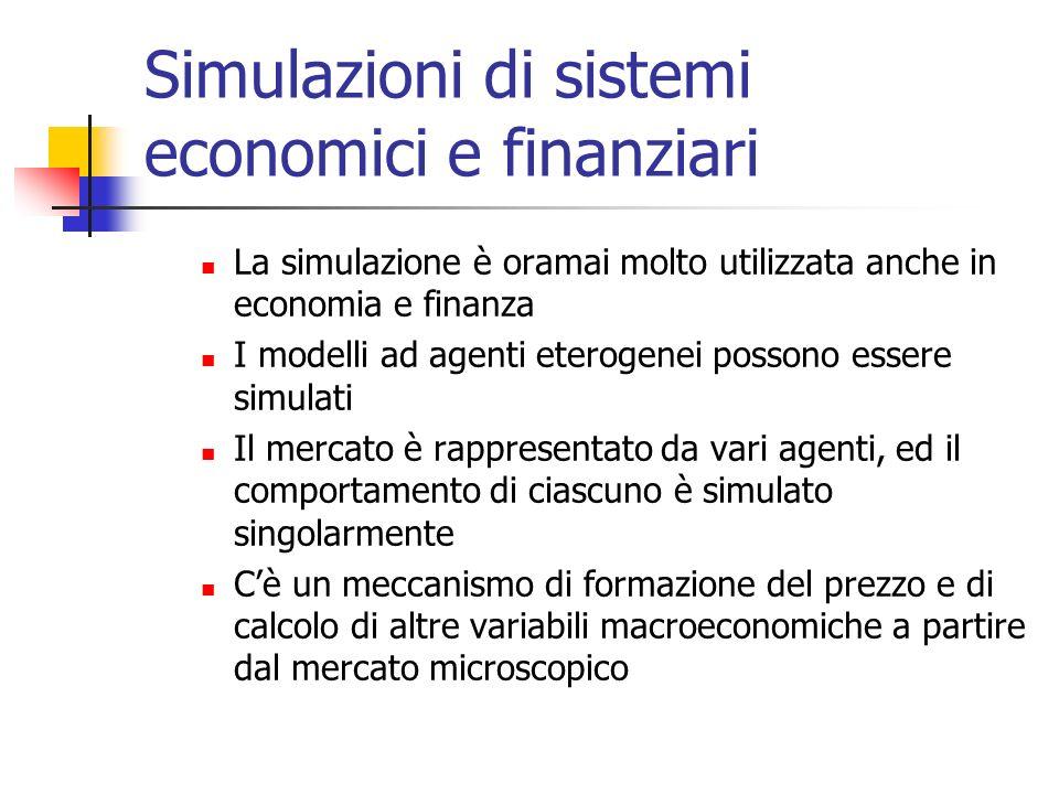 Simulazioni di sistemi economici e finanziari La simulazione è oramai molto utilizzata anche in economia e finanza I modelli ad agenti eterogenei poss