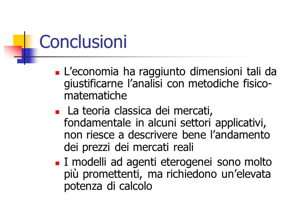 Conclusioni Leconomia ha raggiunto dimensioni tali da giustificarne lanalisi con metodiche fisico- matematiche La teoria classica dei mercati, fondame