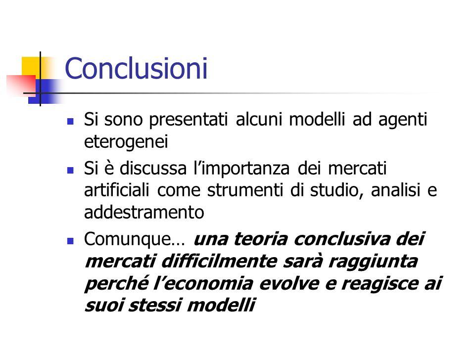 Conclusioni Si sono presentati alcuni modelli ad agenti eterogenei Si è discussa limportanza dei mercati artificiali come strumenti di studio, analisi