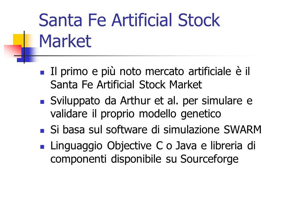 Santa Fe Artificial Stock Market Il primo e più noto mercato artificiale è il Santa Fe Artificial Stock Market Sviluppato da Arthur et al. per simular