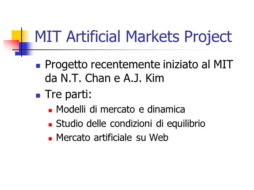 MIT Artificial Markets Project Progetto recentemente iniziato al MIT da N.T. Chan e A.J. Kim Tre parti: Modelli di mercato e dinamica Studio delle con