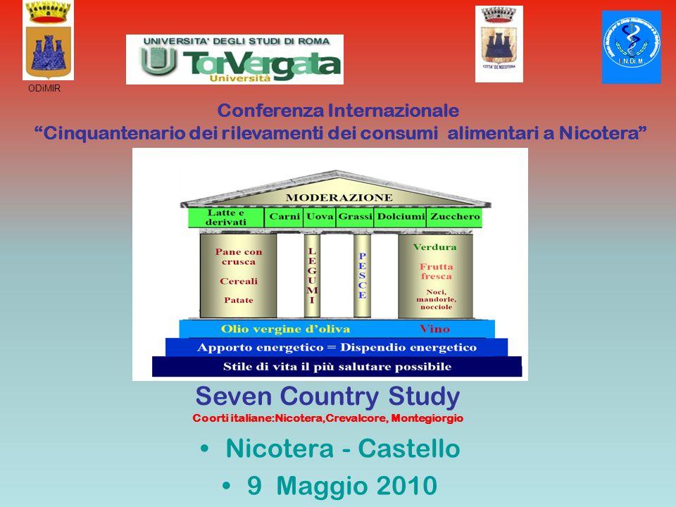 Conferenza Internazionale Cinquantenario dei rilevamenti dei consumi alimentari a Nicotera Seven Country Study Coorti italiane:Nicotera,Crevalcore, Mo