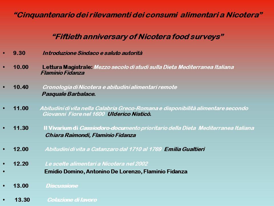 Cinquantenario dei rilevamenti dei consumi alimentari a Nicotera Fiftieth anniversary of Nicotera food surveys 9.30 Introduzione Sindaco e saluto auto