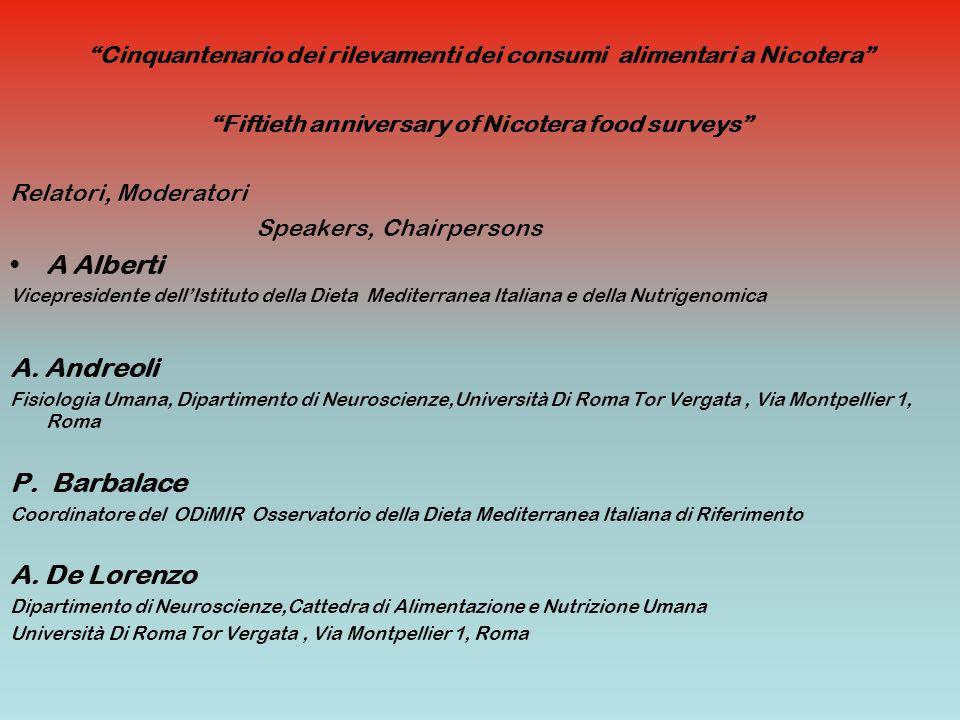 Cinquantenario dei rilevamenti dei consumi alimentari a Nicotera Fiftieth anniversary of Nicotera food surveys Relatori, Moderatori Speakers, Chairper