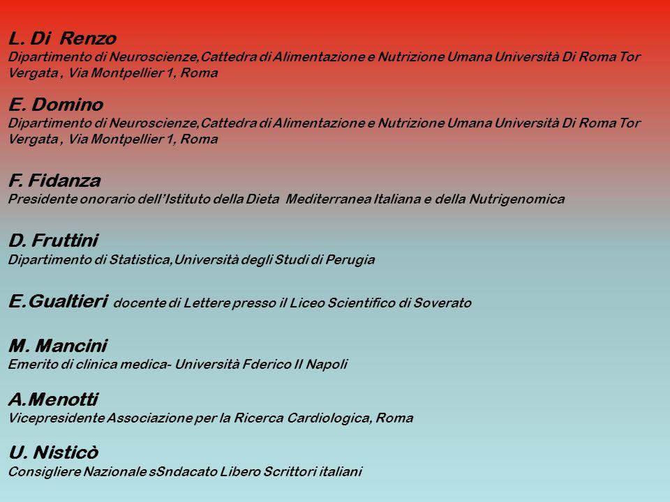 E. Domino Dipartimento di Neuroscienze,Cattedra di Alimentazione e Nutrizione Umana Università Di Roma Tor Vergata, Via Montpellier 1, Roma F. Fidanza