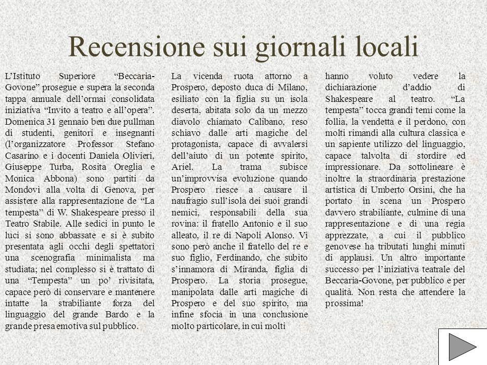 Recensione sui giornali locali LIstituto Superiore Beccaria- Govone prosegue e supera la seconda tappa annuale dellormai consolidata iniziativa Invito