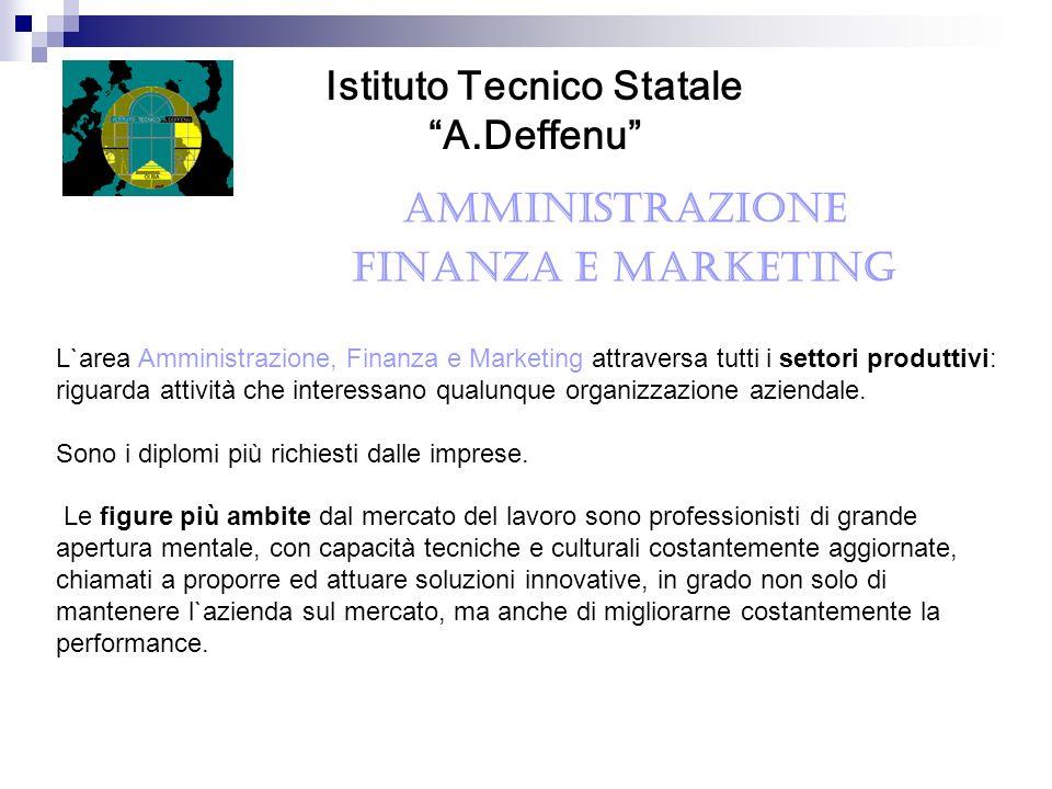 AMMINISTRAZIONE FINANZA E MARKETING Istituto Tecnico Statale A.Deffenu L`area Amministrazione, Finanza e Marketing attraversa tutti i settori produtti