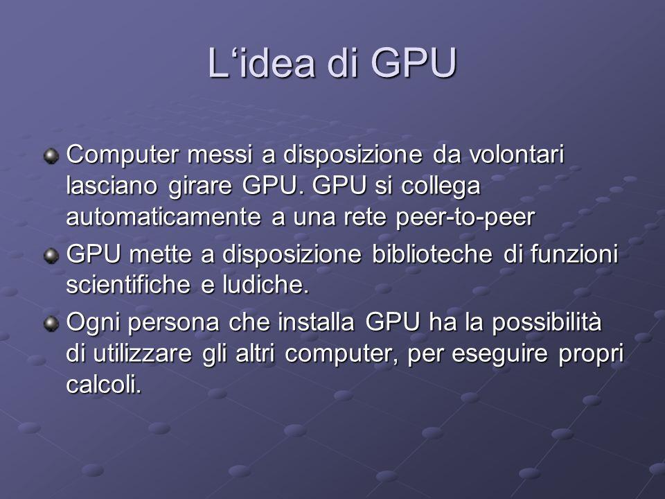 Lidea di GPU Computer messi a disposizione da volontari lasciano girare GPU. GPU si collega automaticamente a una rete peer-to-peer GPU mette a dispos