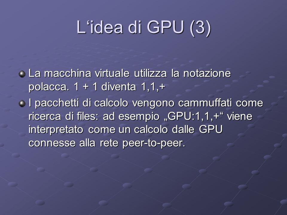 Lidea di GPU (3) La macchina virtuale utilizza la notazione polacca. 1 + 1 diventa 1,1,+ I pacchetti di calcolo vengono cammuffati come ricerca di fil