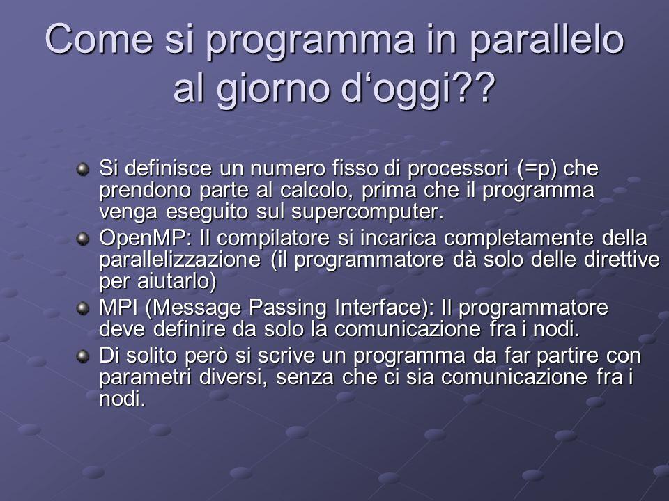 Come si programma in parallelo al giorno doggi?? Si definisce un numero fisso di processori (=p) che prendono parte al calcolo, prima che il programma