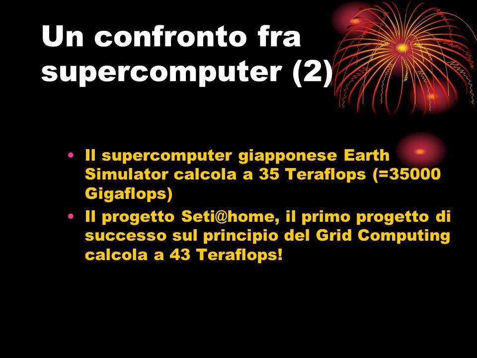 Un confronto fra supercomputer (2) Il supercomputer giapponese Earth Simulator calcola a 35 Teraflops (=35000 Gigaflops) Il progetto Seti@home, il primo progetto di successo sul principio del Grid Computing calcola a 43 Teraflops!