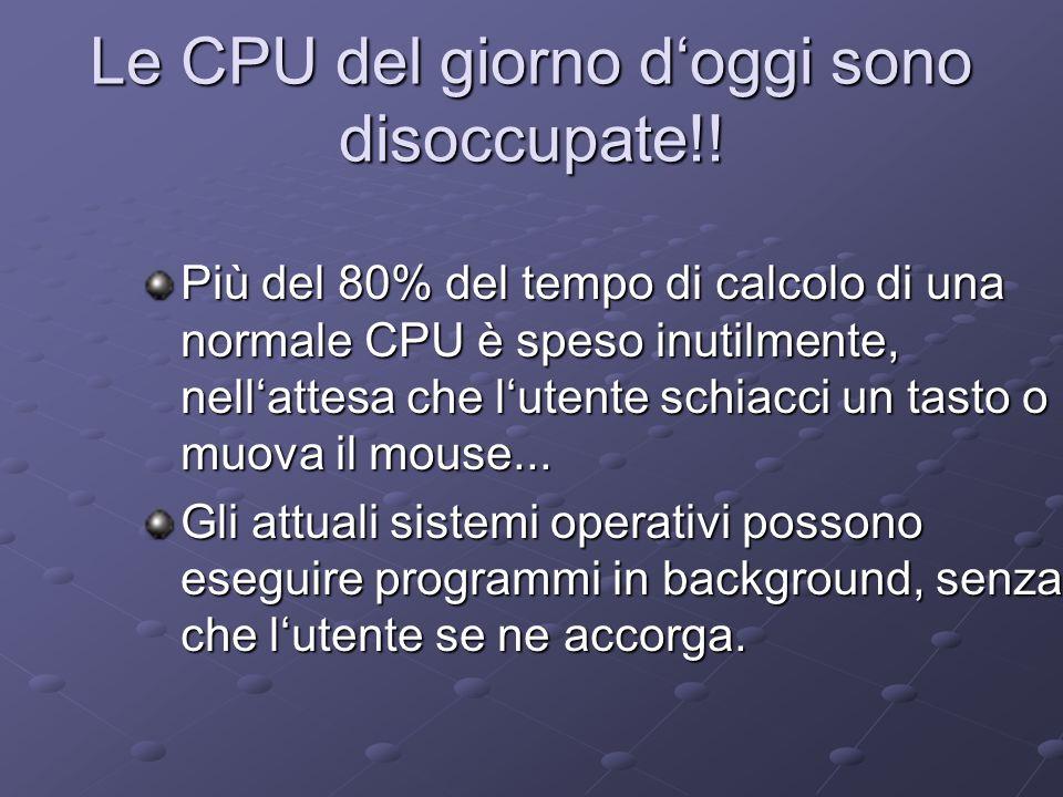 Le CPU del giorno doggi sono disoccupate!! Più del 80% del tempo di calcolo di una normale CPU è speso inutilmente, nellattesa che lutente schiacci un