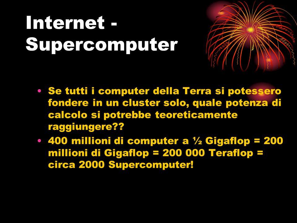 Internet - Supercomputer Se tutti i computer della Terra si potessero fondere in un cluster solo, quale potenza di calcolo si potrebbe teoreticamente